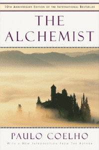 A book cover for the book The Alchemist by Paulo Coelho